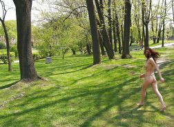 Wife walks naked in a public park