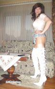 CD Slut Desirae in boots and hot pants