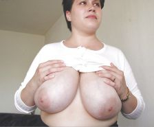 Mature woman with big chunky hangers