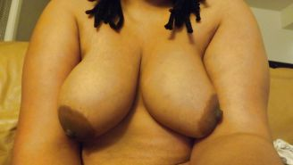 Thick black girl with big boobs.