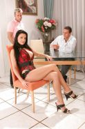 Brunette Spreads Her Legs For Two Cocks