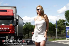 Flashing and naked in public in a rest area