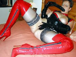 Pvc mature in thigh high boots