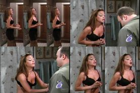 Leah Remini in black bra and slip