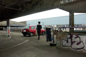 FRENCH NADINE flashing in a parking lot 2005