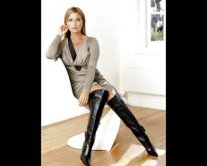 Celebrities in leather heels or boots