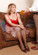 Mature blonde lady paddled and caned.