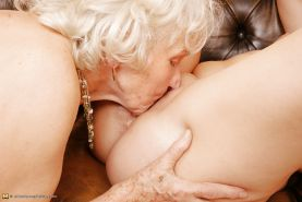Old Grandma Norma Fucked By Two Young Lesbians PART 2
