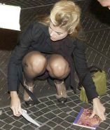 Anke Engelke Panty Upskirt As She Crouches Correctly