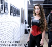 Julie skyhigh in latex catsuit legging & corset public