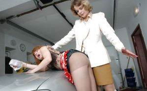 Babes in pain-punished in pantyhose.