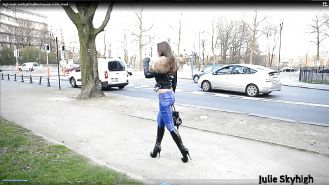 Real belgian slut in leatherpant & super sexy boots public