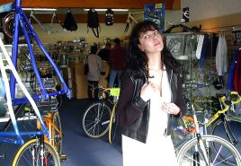 FRENCH NADINE fucked by two men in a bicycle shop