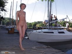 Girl naked in a public place