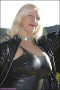 BBW mature and femdom pvc latex leather strapon 01