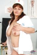 Big-breasted stepmother in nurse uniform at clinic
