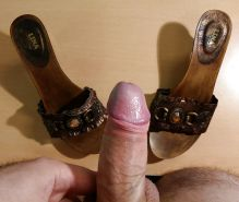 Fuck and cum not my stepmother's wooden mules sandals #30492544