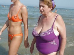 Grannies with Big Tits on the beach! Amateur Mixed!
