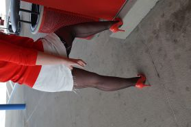 Public upskirt stockings & panties