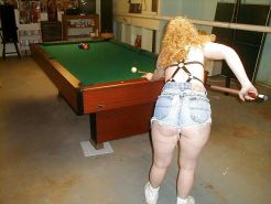 Shooting pool with hubby and his friends