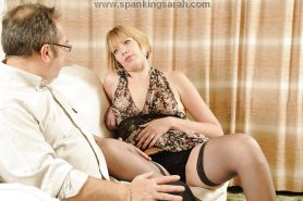 Mature babe punished-Sarah gets the paddle.