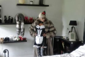 French Maid in heels boots and fur
