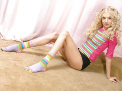Russian amateur Elvira wearing her striped socks