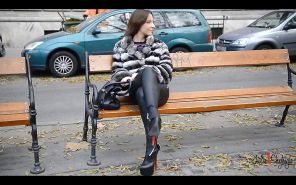 Julie skyhigh teasing leather legging and boots nude belly