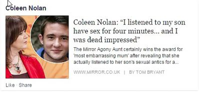 Colleen 'saggy whore' Nolan....