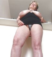 Mature woman with big chunky hangers 3