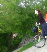 Spy sexy women in bicycle romanian