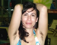 Amateur hairy armpits mature at the swimming pool
