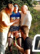 CUCK WIFE LENE gangbanged by strangers outdoors