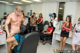 Horny Latina babes take part in a CFNM party in their office