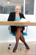 Fat blond mom in black stockings Alexis Golden masturbating in the office