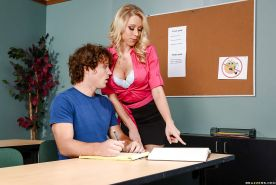 Blonde cougar Katie Morgan seducing student by going topless in class