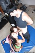Brunette teenagers Ivy Winters and Mina Gold suck big cock together on knees