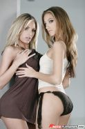 MILF lesbians Teagan Presley and Jenna Haze lick and toy assholes