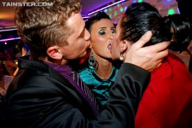 Lecherous european MILFs going crazy and getting down at the wet party
