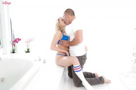 Blonde pornstar Mia Malkova banging big cock in sports socks
