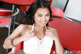 Brunette babe Cindy Starfall reveals shaved Asian pornstar pussy and ass