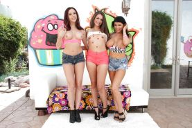 Pornstars Allie Haze, Chanel Preston and Romi Rain show off thong clad ass