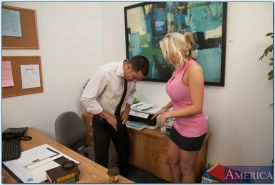Big titted babe Alanah Rae gives a titjob and fucks in the office