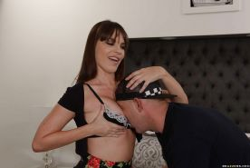 Buxom MILF pornstar Dana DeArmond taking big cumshot in mouth from big cock