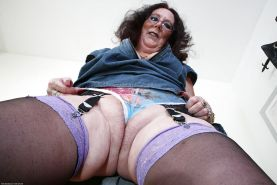 Beautiful granny in sexy glasses Zadi is showing her hairy pussy #50993528