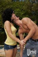 Seductive MILF Katie St-Ives gets her pussy licked and fucked outdoor