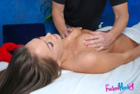 Hot babe Tori Black gets her hairy pussy plowed on the massage table