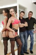 Stocking and garter adorned Euro babe Mea Melone giving head before DP