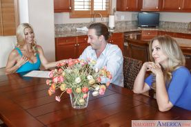 MILF pornstars Alexis Fawx and Julia Ann have threesome on kitchen table