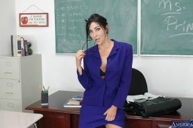 Cute looking teacher with big tits Diana undressing her sexy body